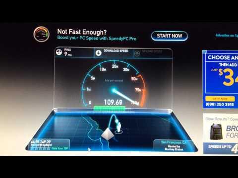 California Internet Speed Test via speedtest.net