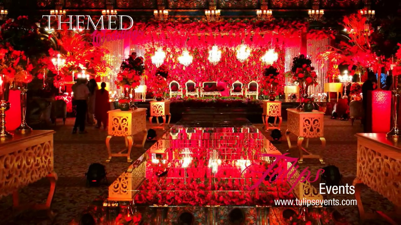 royal red theme reception stage backdrop setup ideas in pakistan