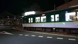 浜大津駅前交差点を曲がる京阪京津線