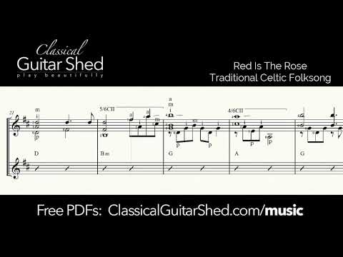 Red is the Rose - Free sheet music and TABS for classical guitar
