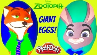 Disney Zootopia Giant Play Doh Surprise Eggs   Nick Wilde Officer Judy Hopps Mystery Minis Shopkins