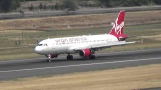 Redwood!!!!!!! Airbus A320-214 N625VA landing at Portland PDX!