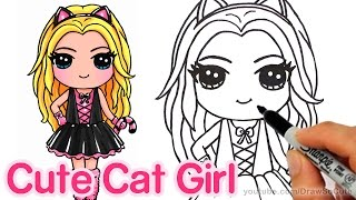 How to Draw a Cute Girl in Cat Costume step by step - Kitty Costume