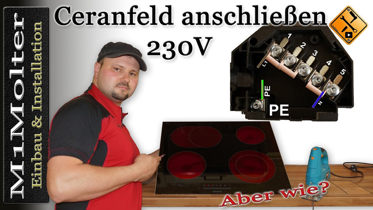 ceranfeld anschlie en 230 volt induktionskochfeld anschlie en 230v von m1molter youtube. Black Bedroom Furniture Sets. Home Design Ideas