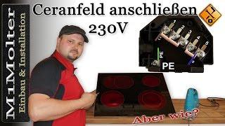 Ceranfeld anschließen 230 Volt / Induktionskochfeld anschließen 230V von M1Molter
