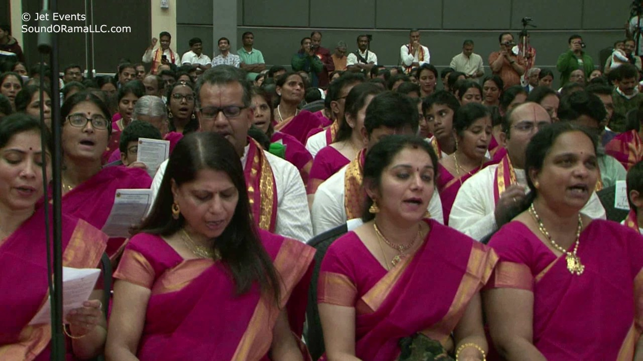 Devotees singing the finale of Raganjali of Ramanuja Keerthana at Sashitipoorthi Celebrations.
