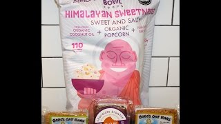 Lesser Evil Himalayan Sweetness Popcorn, Wow Chocolate Brownie & Bobo's Coconut & Pb Review