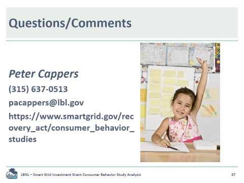 WEBINAR: Overview and Preliminary Results of ARRA-Funded SGIG Consumer Behavior Studies April-2014