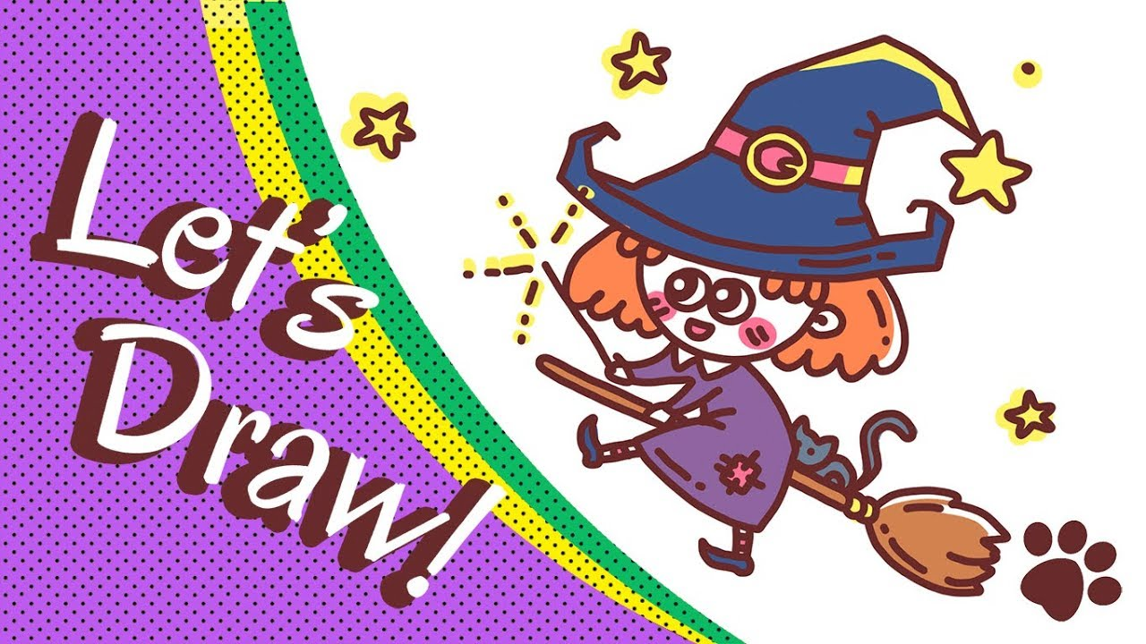 how to draw a cute witch halloween cute halloween drawing easy