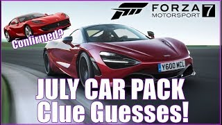 Forza Motorsport 7 July Car Pack Clue Guesses!