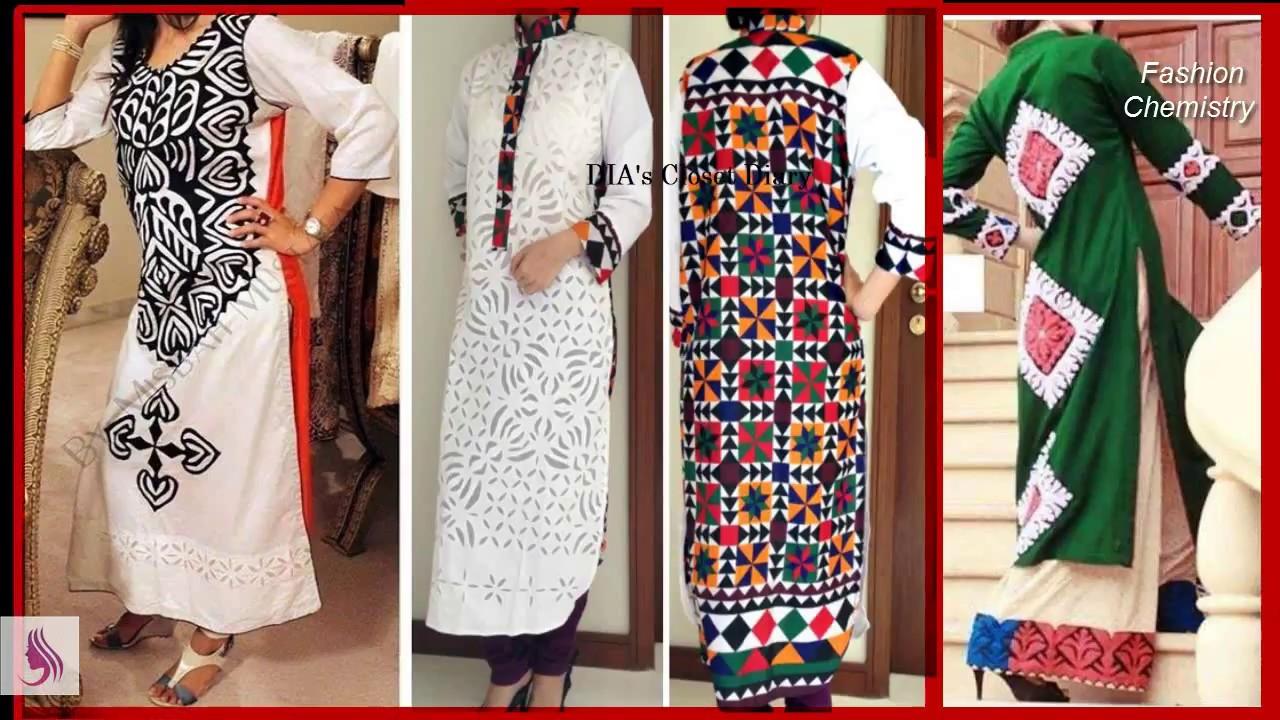 Stylish colorful applique work design for kurti kameez dress