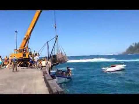 Norfolk Forwarding Ship Unloading on Norfolk Island