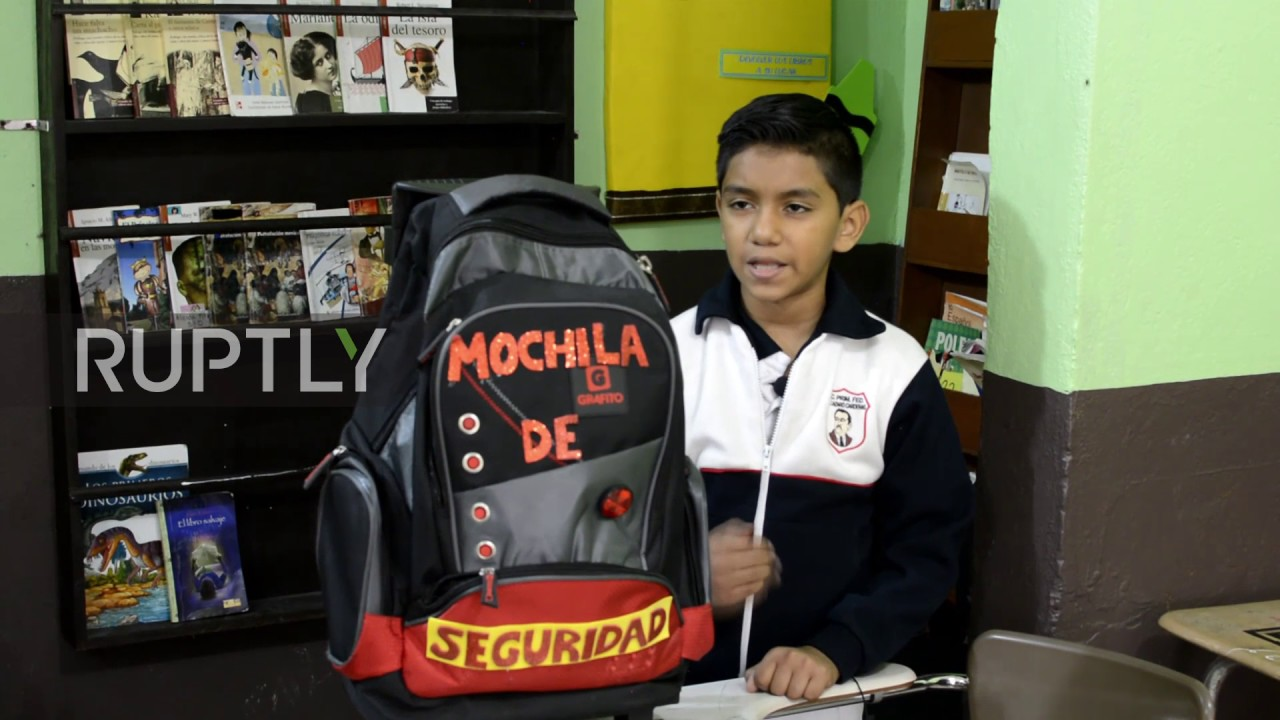 15bc0cb6ab2f Mexico  11-year-old designs bulletproof backpack in Matamoros - YouTube