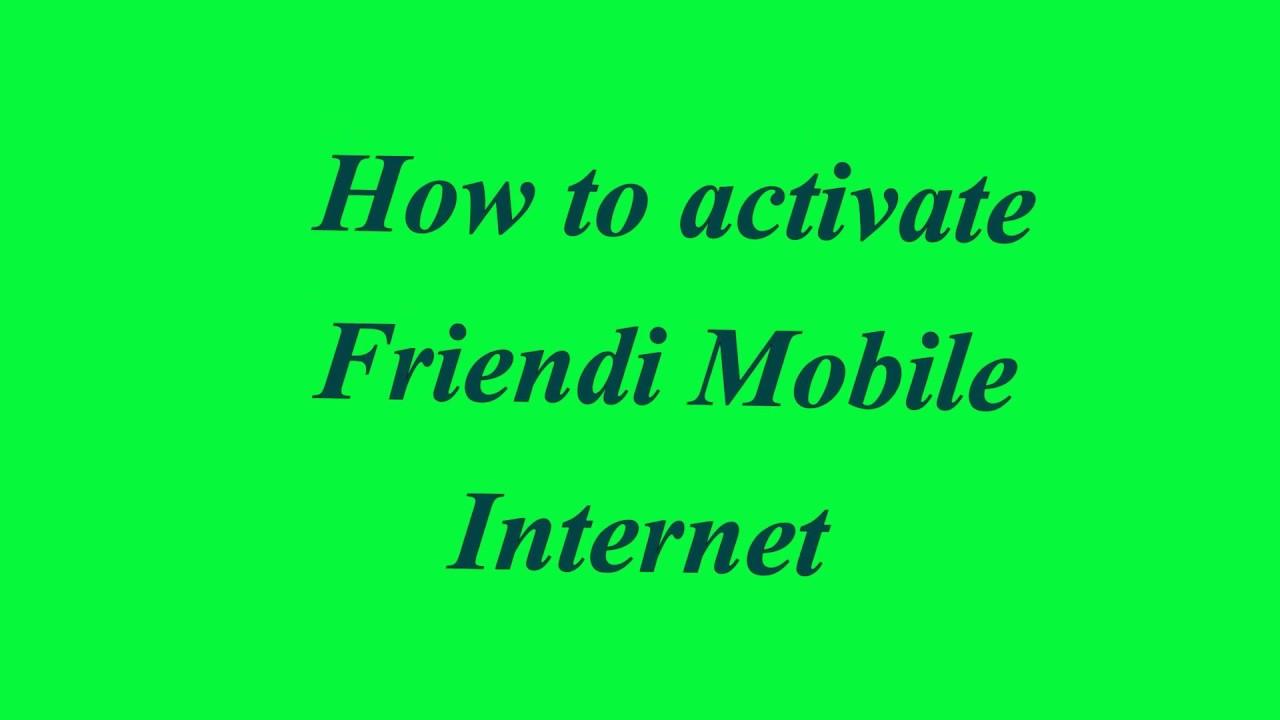 Friendi Mobile Internet setting set-up
