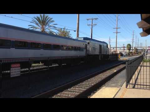 Amtrak California Surfliner (with Amfleet cars) stoping at the Old Town San Diego station.