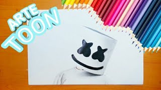 Como dibujar a marshmello realista  | how to draw marshmallow