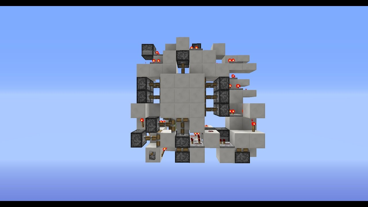 Minecraft Showcase WORLDS MOST COMPACT 3x3 Flush Piston Door 9x9x3\u003d 243 blocks)