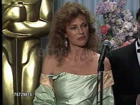 Jacqueline Bisset, Bille August and Candice Bergen at The 1989 Academy Awards
