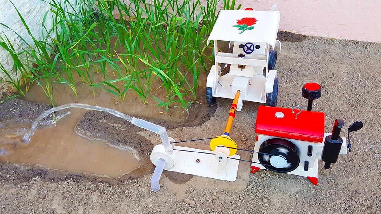 Diesel Engine & Rc Tractor Water Pump Science Project   Diesel Engine tube well   Mini Water Pump