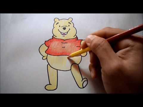 หมีพูห์ สอนวาดรูปการ์ตูนน่ารักง่ายๆ ระบายสี How to Draw Winnie the Pooh Step by Step