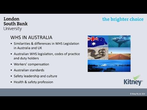 Workplace Health and Safety Legislation in Australia, mini lecture