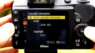 How to add Copyright Info using a DSLR (i.e. Nikon D3400, Canon, Sony, etc.)