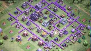 Clash of Clans: High Level Defense TH 9 - Attack with PEKKA, Barbarian King, Archer Queen, Dragon.