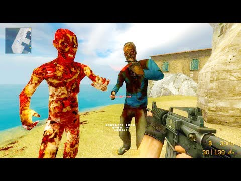 Counter Strike Source - Zombie Riot Mod Online Gameplay On Island Map