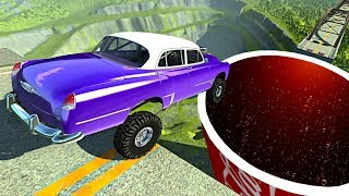 Beamng drive - Open Bridge Crashes over Giant Coca Cola Soda Cup #4
