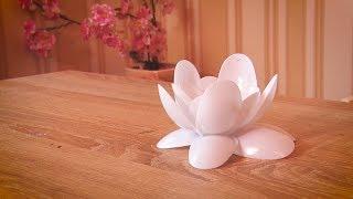 як зробити квітку з пластикових ложок