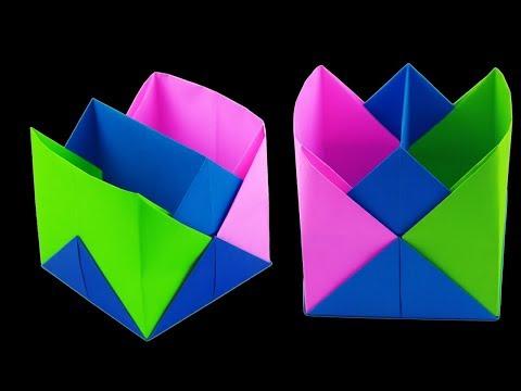Easy Paper Crafts Without Glue | How to Make a Paper Pen Holder | DIY Pen Holder (Hidden Genius)