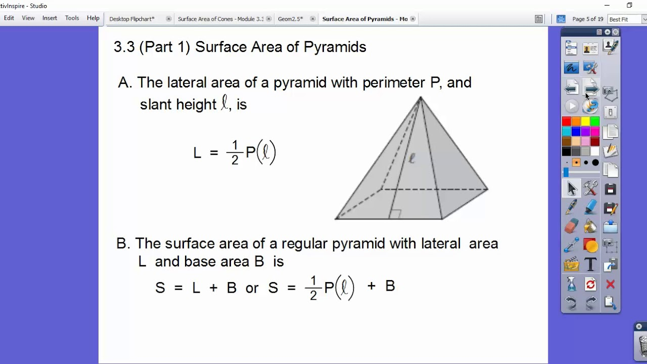 worksheet Surface Area Of A Pyramid surface area of pyramids module 3 part 1 youtube 1