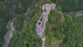 Dracula Castle Poienari (4K aerial view)