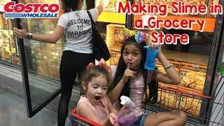 Making Slime at Costco Grocery Store. We got caught!!!!