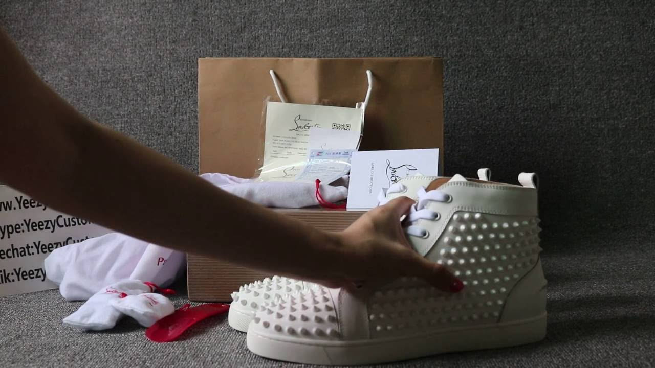 6bfd41662f9 RED BOTTOM Christian Louboutin Men Flat Shoes All White Leather with White  Spike HD Review