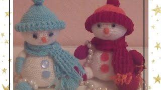 Снеговик часть 1.(полный МК по вязанию крючком.)