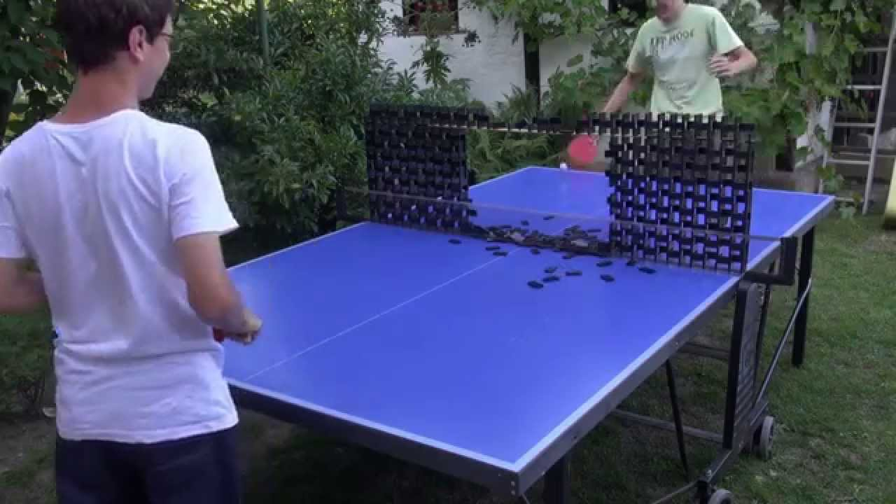 CRAZY Table Tennis TRICKS With Dominoes   Meeting With Austrian Domino Art    YouTube