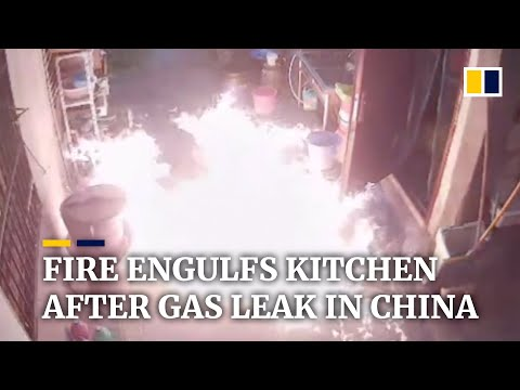 Fire engulfs kitchen after gas leak in China
