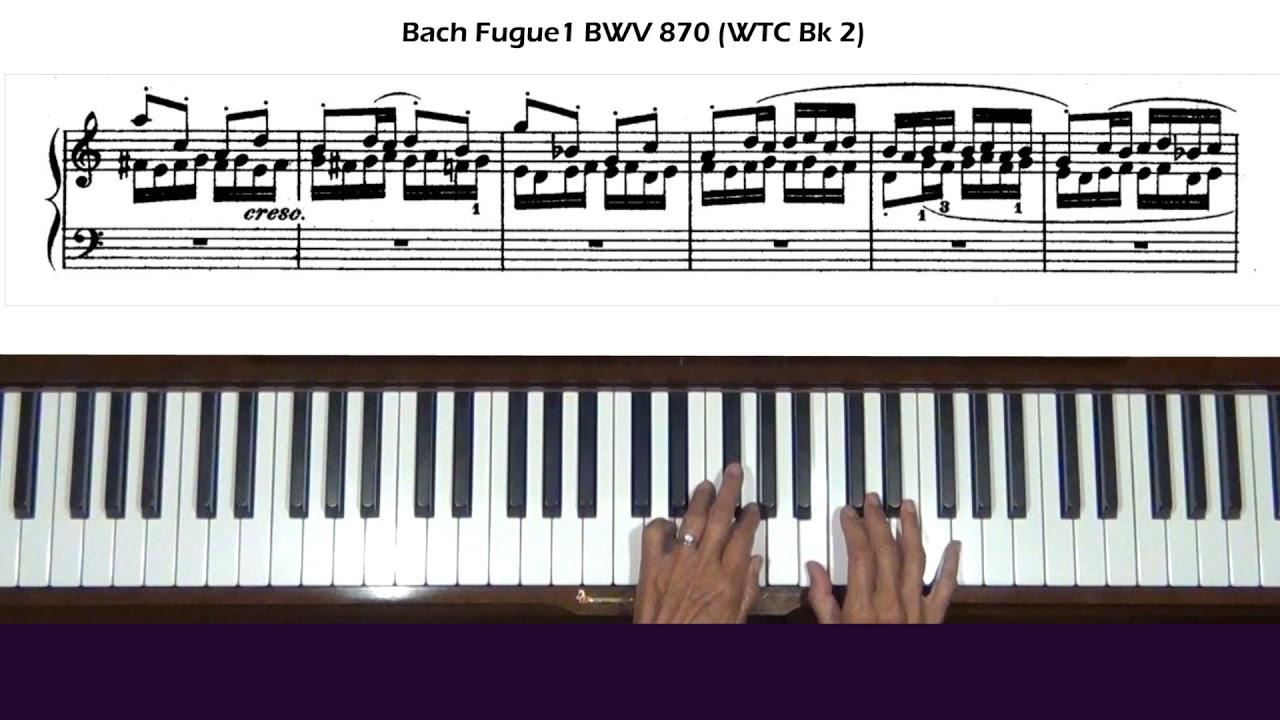 Bach Fugue 1 in C Major BWV 870 WTC Bk 2 Piano Tutorial