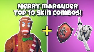 TOP 10 'MERRY MARAUDER' BACK BLING COMBINATIONS in Fortnite Battle Royale - GINGERBREAD MAN SKIN!