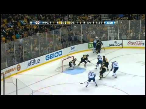 Milan Lucic hits Mark Stuart then Dustin Byfuglien drops Lucic {Dual-Feed}