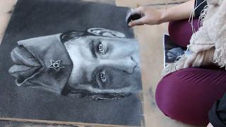Рисунок ''Память''  к 9 Мая. Портрет Солдата (мраморной пылью).