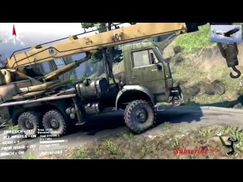 รถเครน ช่วยรถบรรทุก ตกถนนบนภูเขา Crane wins truck crashed on a mountain road.(realistic)