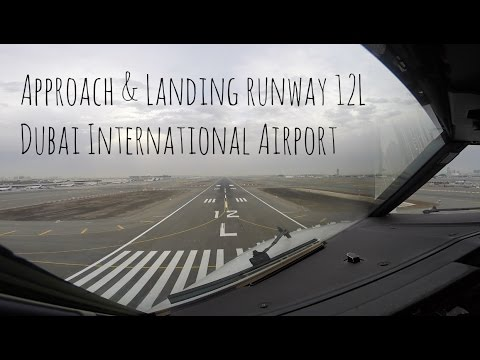 Approach and Landing runway 12L at Dubai International airport (DXB OMDB)