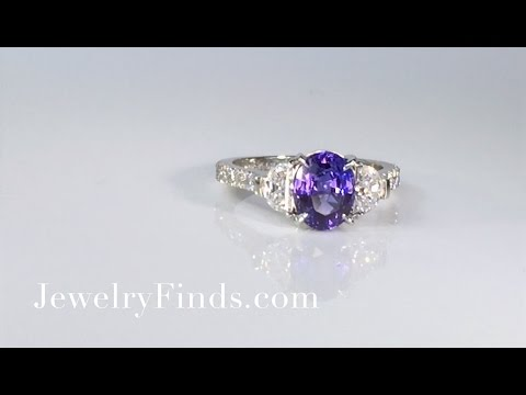 Amazing Color Change Purple Blue Sapphire & Diamond Ring Platinum
