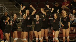 No. 2 Cardinal women's volleyball avoid upset, rally back to defeat Trojans in LA