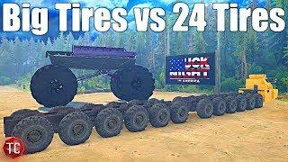 SpinTires MudRunner: BIG TIRES vs 24 TIRES!! (Truck Night in America)