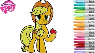 My Little Pony Coloring Book Applejack MLP Colouring Pages Rainbow Splash