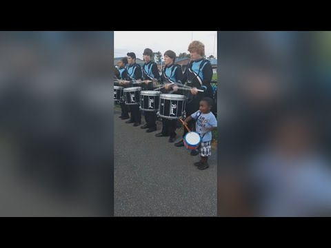 4-year-old drums along with Telfair County High School band