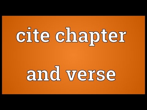 Cite chapter and verse Meaning
